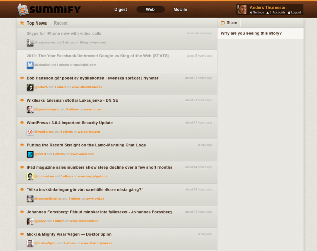 Summify screenshot